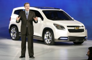 General Motors North America President Troy Clarke introduces the Chevrolet Orlando seven-seat compact multi-purpose car at the North American International Auto Show in Detroit, Michigan. ( I am not a fan of this one)